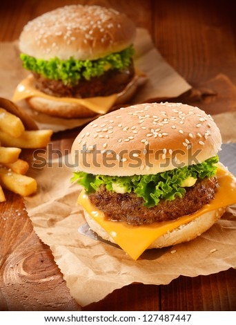 Two hamburgers and french fries on brown paper - stock photo