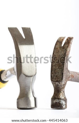 Two hammers,  old and new on a white background - stock photo