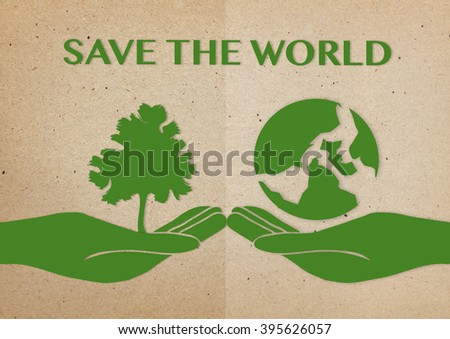 Two  hand holding tree and Earth  on paper background ,World environment day concept, save the world concept,ecology system concept - stock photo