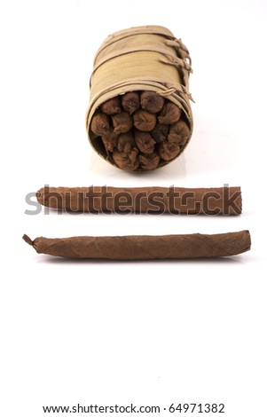 two hand rolled cigars and a cuban humidor isolated on a white background - stock photo