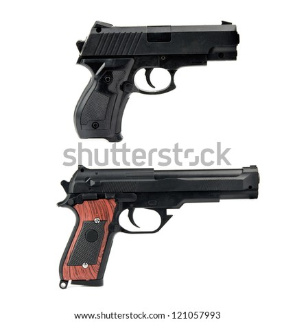 two handguns is isolated on white - stock photo