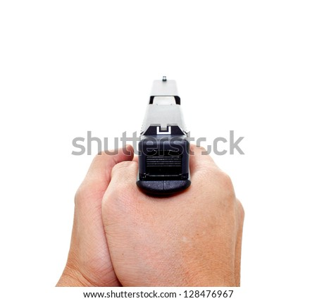 two hands aiming a handgun on white background - stock photo