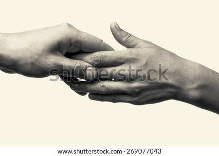 Two hands (cares about her) - stock photo