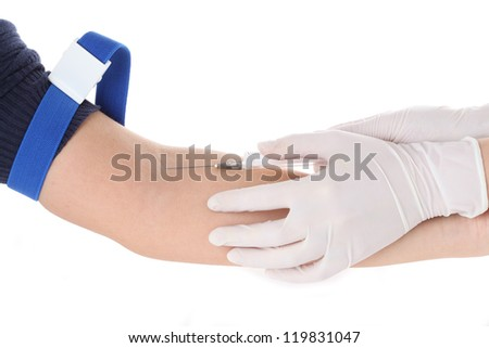 Two hands: doctor and patient, blood taking, isolated - stock photo