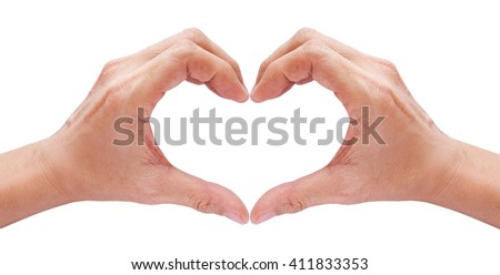 two hands forming a heart on white background - stock photo