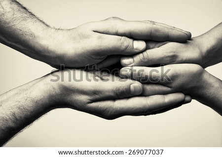 Two hands (hands that  take care) - stock photo