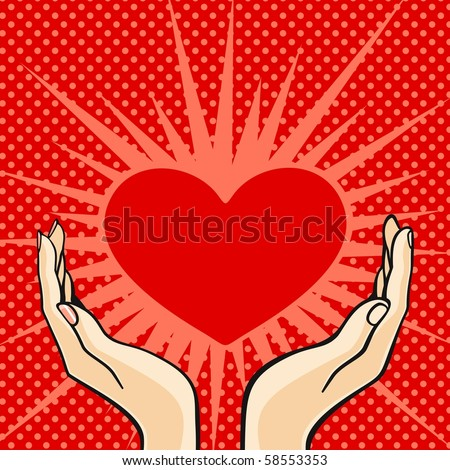 Two hands holding a heart (raster version) - stock photo