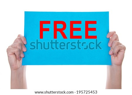 Two hands holding blue paper with free on white background - stock photo