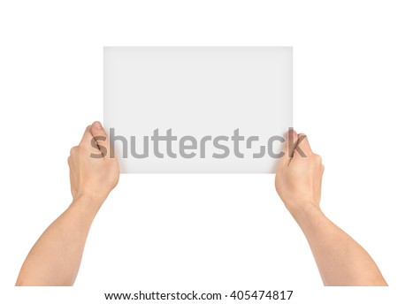 two hands holding empty piece of paper on an isolated white background - stock photo
