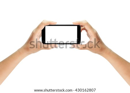 Two Hands Holding screen smartphone isolated. smartphone device gaming. - stock photo