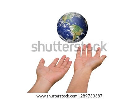 Two hands holding the earth isolated on white backgrounds. Elements of this image furnished by NASA - stock photo