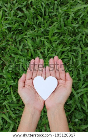 Two hands holding white heart with green grass background. - stock photo