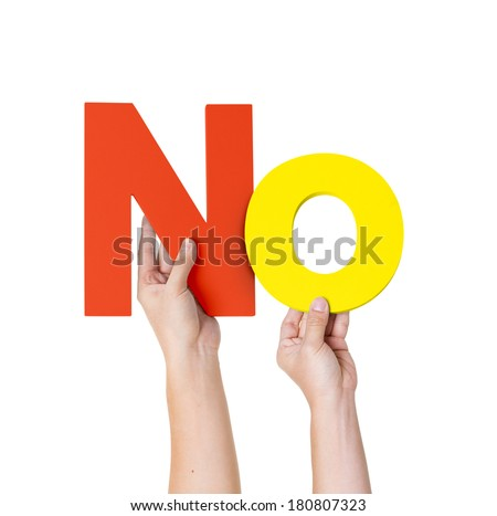 Two Hands HoldingThe Word No - stock photo
