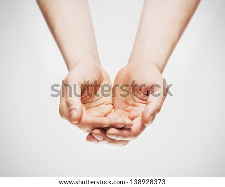 two hands isolated on white - stock photo