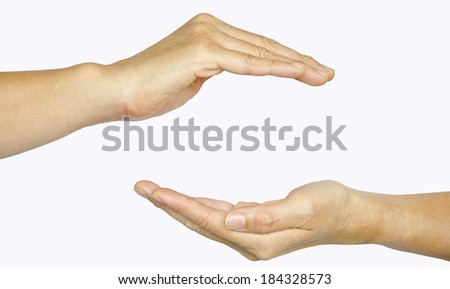 Two hands isolated on white background, clipping path - stock photo