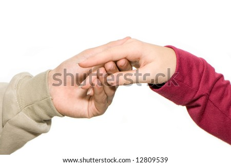 Two hands on a light background - stock photo