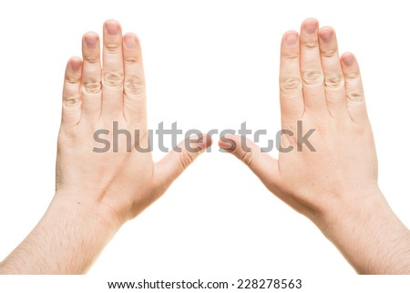 two hands on a white background - stock photo