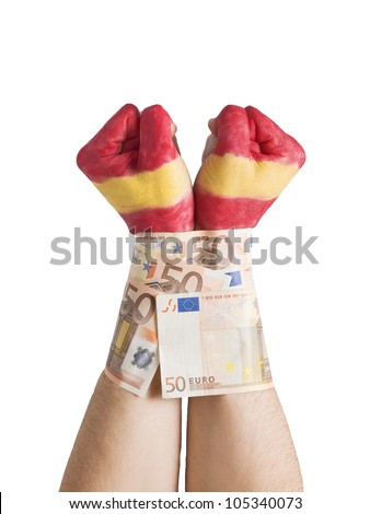 Two hands painted flag Spain and cuffed with 50 euro notes. The picture is intended to convey the concept of the spanish economic crisis exerted by banks and financial markets. - stock photo
