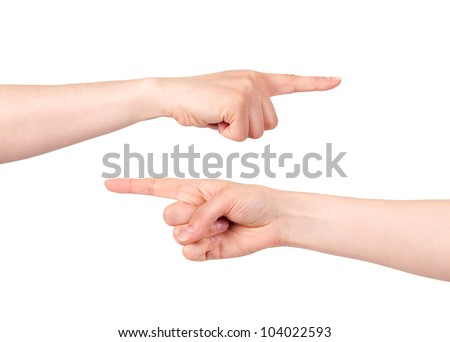 Two hands pointing with index finger on white background - stock photo