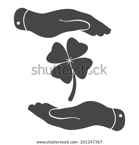 two hands protecting clover with four leaves sign icon on a white background. Saint Patrick symbol - stock photo