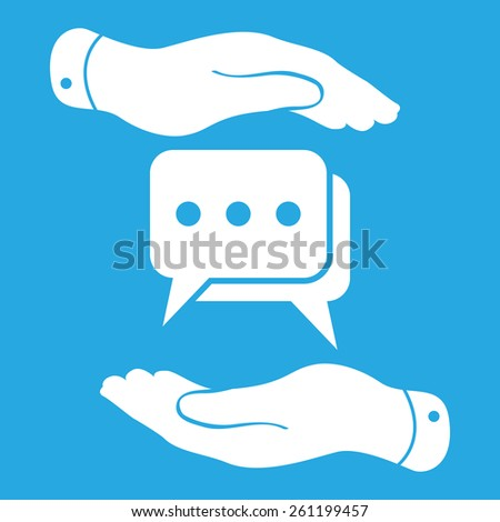two hands protecting flat chat icon - stock photo