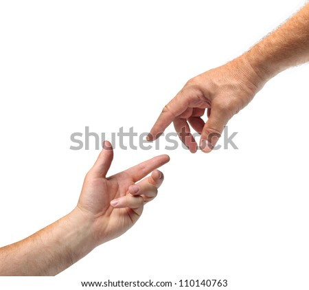 Two hands reaching towards each other white background isolated - stock photo