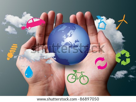 two hands save the earth white ecological - stock photo