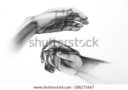 Two hands. Sketch by hand, graphic in sketchbook. Simple pencil, white paper. Classical art, a practical lesson on drawing. - stock photo