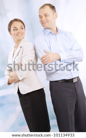 Two happy business colleagues - stock photo