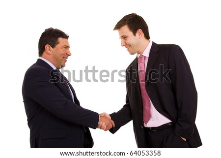 Two happy business man shaking hands over a white background - stock photo
