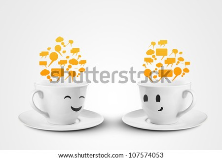 two happy cups smileys with speech bubbles - stock photo