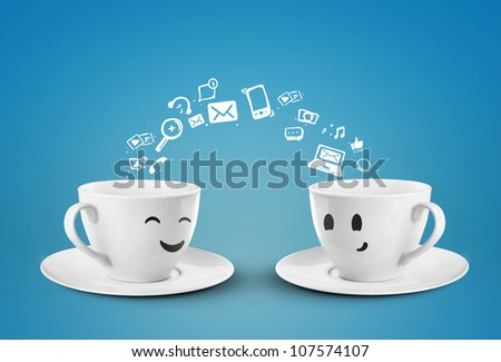 two happy cups, social media icons - stock photo
