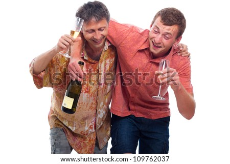 Two happy drunken men with bottle and glass of alcohol, isolated on white background. - stock photo