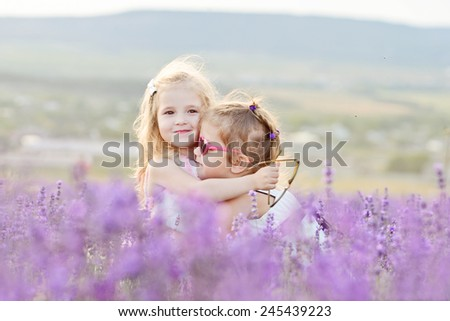 two happy girls are hugging in field - stock photo