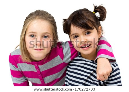 two happy little girls isolated on white - stock photo