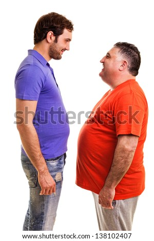 Two happy men standing face to face isolated on white background - stock photo