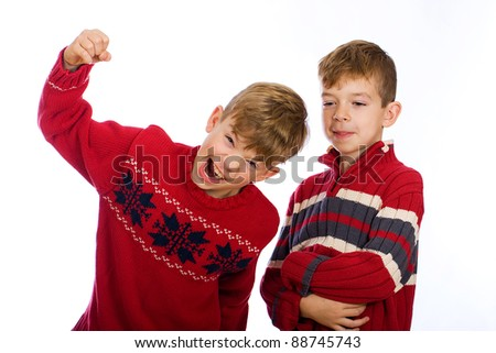 Two happy young boys - stock photo