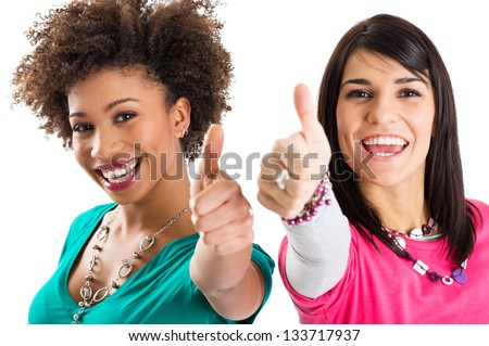 Two Happy Young Girl Smiling - stock photo