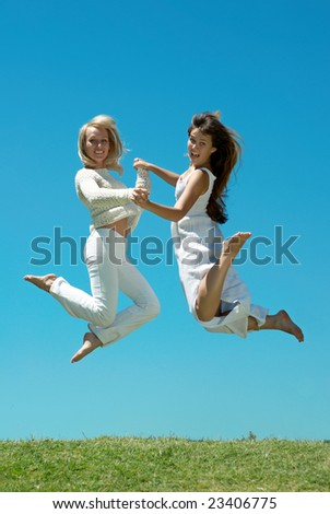 Two happy young Girls on Outdoors - stock photo