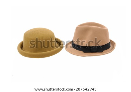 Two hat isolated on white - stock photo