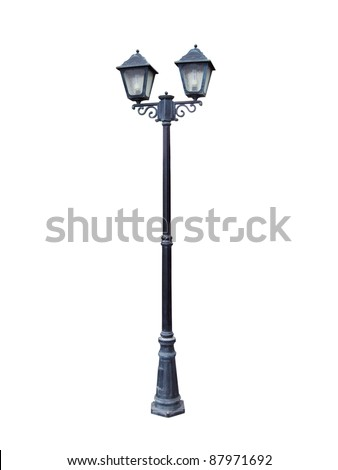 Two headed street lamp isolated on a white background. - stock photo