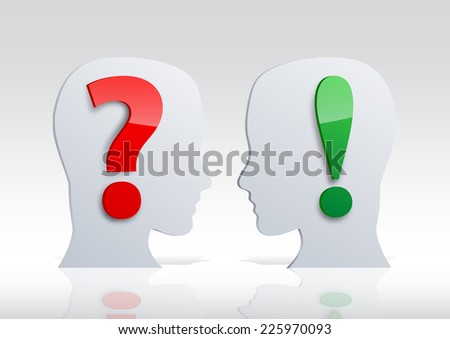 two heads, Doubt and certainty  - stock photo