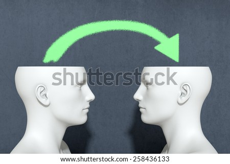 two heads with an arrow, concept of information sharing (3d render) - stock photo