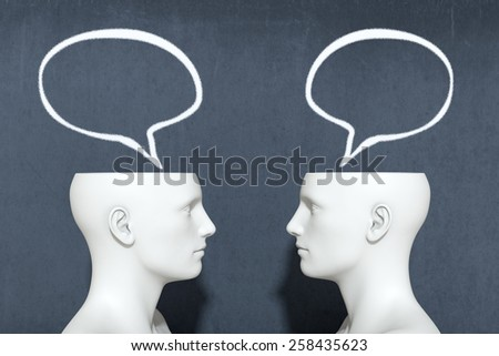 two heads with speech bubbles, concept of dialogue (3d render) - stock photo