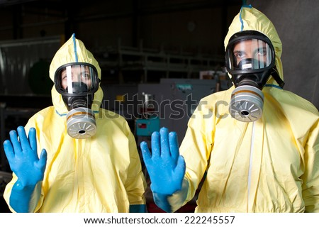 Two health workers warn of Ebola  - stock photo