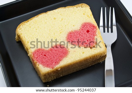 two heart in a butter cake - stock photo