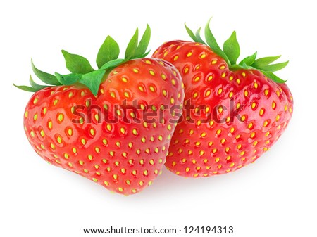 Two heart-shaped strawberries isolated on white - stock photo