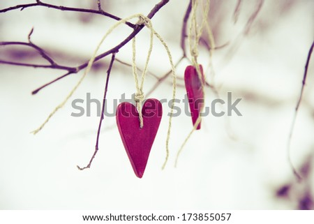 Two heart shaped valentine's / christmas red decorations hanging on the tree bench with snow on the background - stock photo
