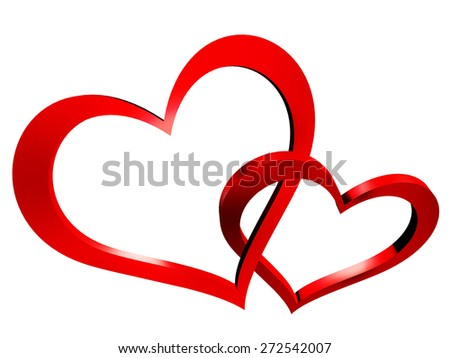 two hearts - stock photo