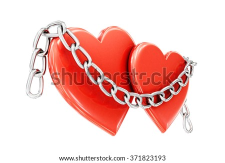 Two hearts and a chain isolated on white background. 3d illustration. - stock photo